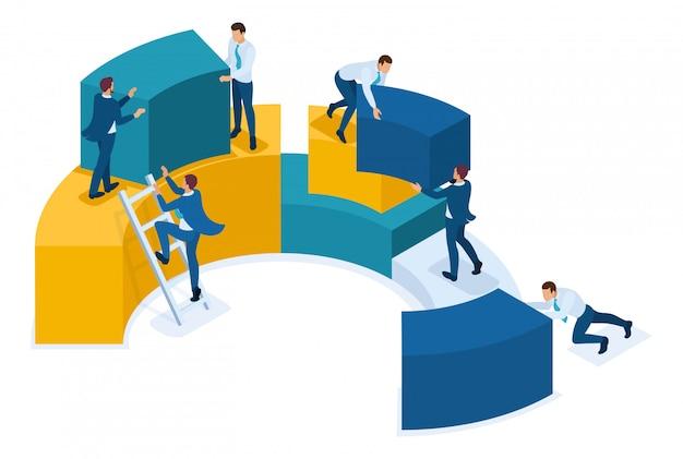 Análise isométrica de dados, coleta de dados para análise, trabalho dos funcionários. Vetor Premium