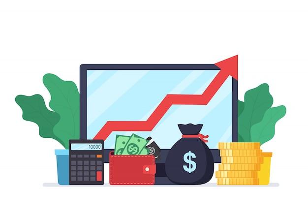 Análise web analytics e estatísticas de desenvolvimento de negócios. conceito moderno de estratégia de negócios, pesquisa de informações, marketing digital, gestão de investimentos. Vetor Premium