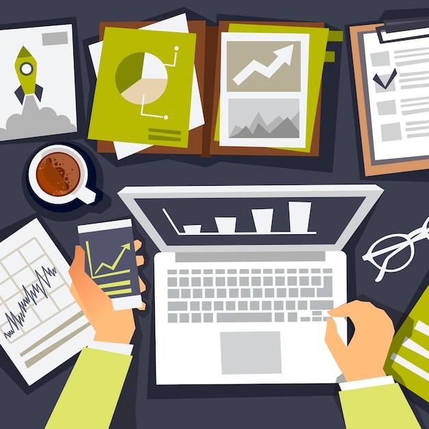 Analista de negócios. estratégia de negócios de pesquisa. analista e criação de gráficos. ilustração plana Vetor Premium