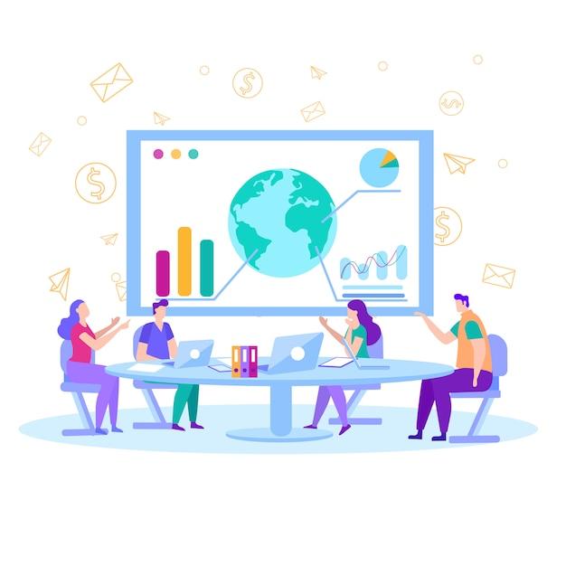 Analistas financeiros na sala de conferências ilustração plana Vetor Premium