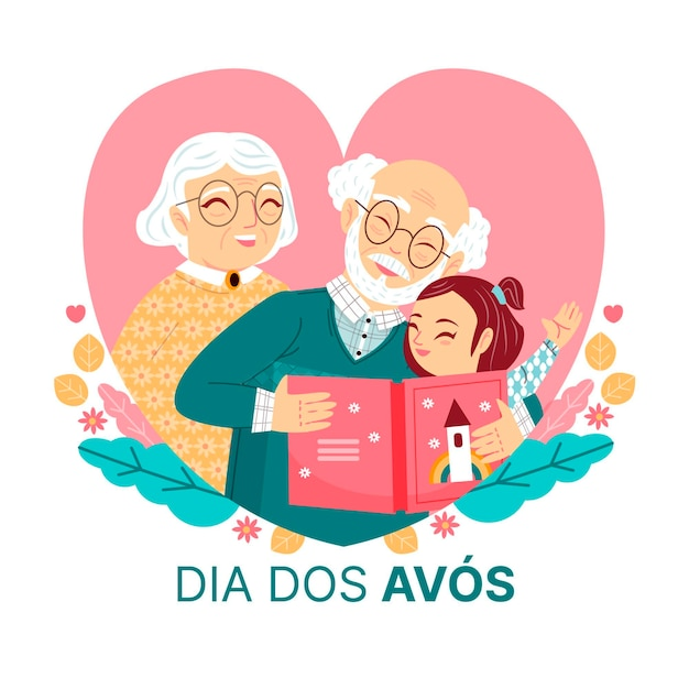Anciãos lendo uma história para dormir Vetor grátis