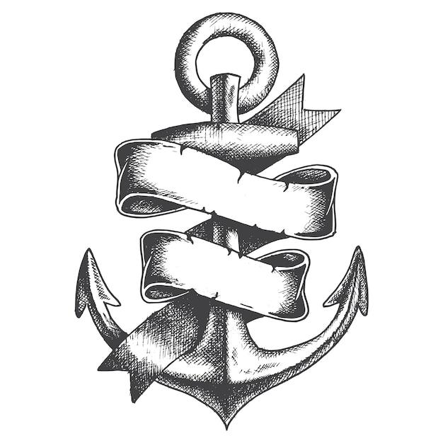 Âncora desenhada à mão com fita estilo monocromático Vetor grátis