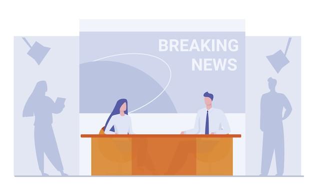 Âncoras de notícias sobre fundo de notícias de última hora Vetor grátis