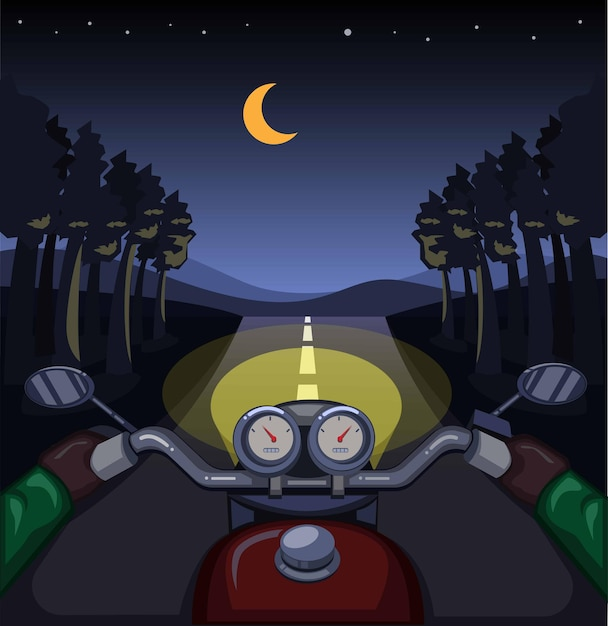 Andando de moto na noite da floresta, conceito de cena do painel de controle do piloto na ilustração dos desenhos animados Vetor Premium