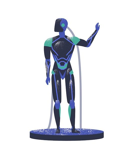 Andróide azul com fios Vetor Premium
