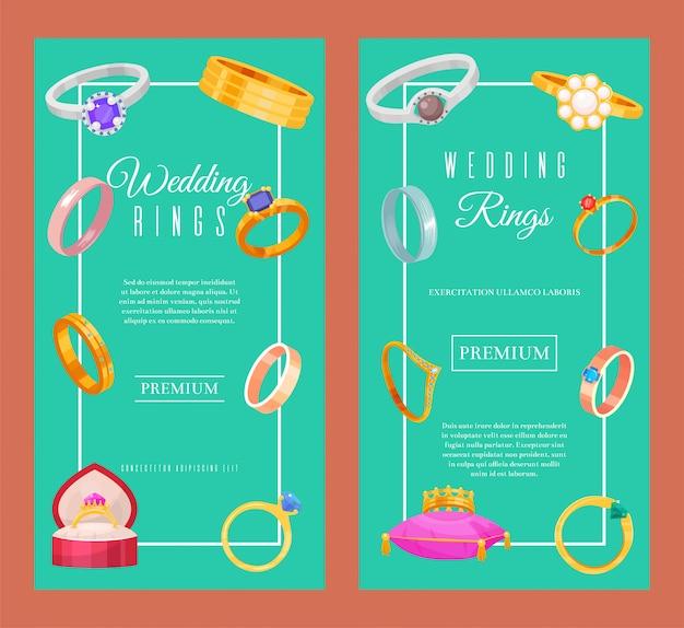 Anéis de casamento ouro e prata metal banner. jóias diamante cerimônia gemstone presente. Vetor Premium