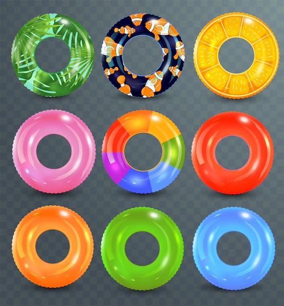 Anéis de natação em fundo transparente. brinquedo de borracha inflável. coleção colorida lifebuoy. verão. ilustração realista de verão. férias de verão ou segurança de viagem. Vetor Premium
