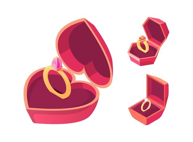 Anéis de noivado no vetor isométrico de caixas vermelhas Vetor grátis