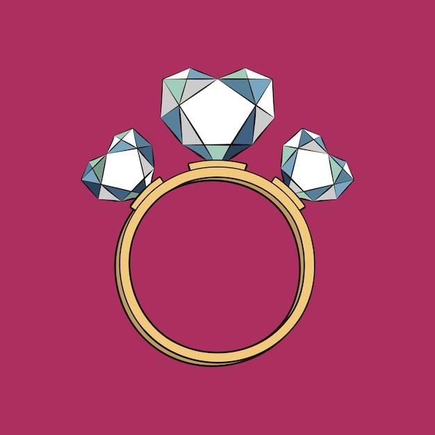 Anel com corações de diamante Vetor Premium