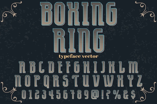 Anel de boxe de design de rótulo de alfabeto efeito sombra Vetor Premium