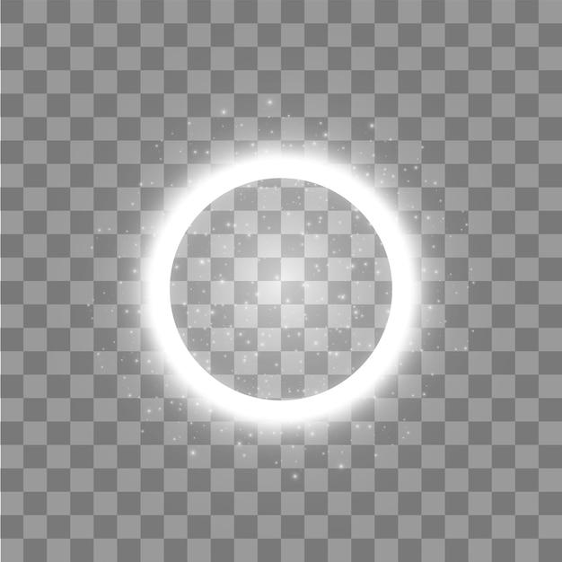 Anel de luz. quadro redondo brilhante com partículas de trilha de poeira de luzes em fundo transparente. conceito Vetor Premium