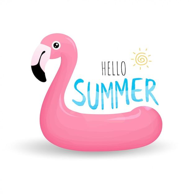 Anel de natação em forma de flamingo rosa Vetor Premium