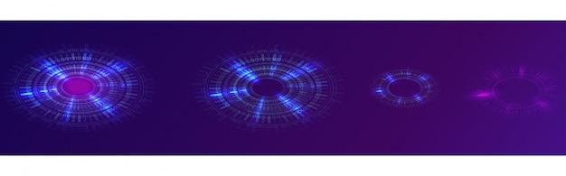 Anel de néon azul brilhante, círculo digital futurista Vetor grátis