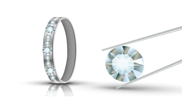 Anel de ouro branco decorado com diamantes redondos Vetor Premium