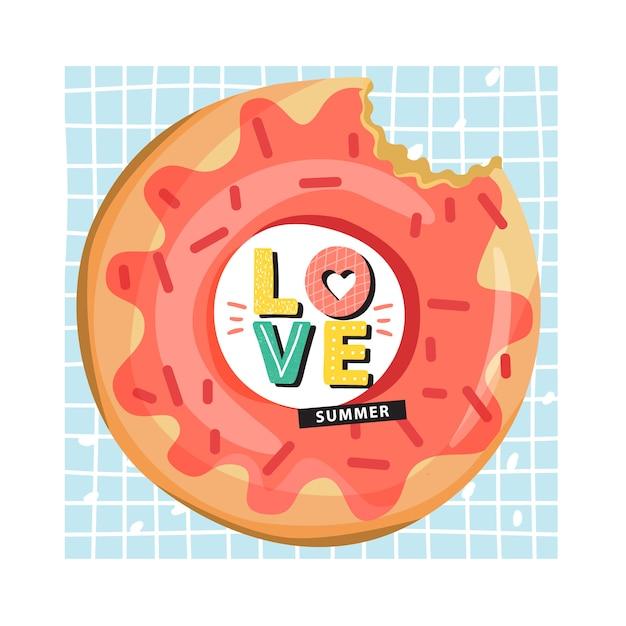 Anel de piscina inflável de donut com letras na moda Vetor Premium