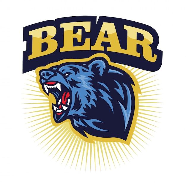Angry grizzly bear mascote do rugido logotipo, desenhos animados Vetor Premium