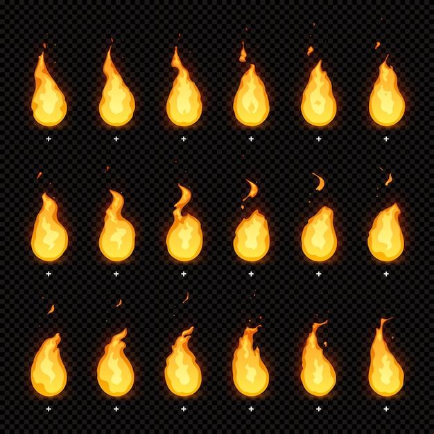 Animação de fogo. chamas flamejantes, chamas ardentes e chamas animadas de chamas quadros de animações isoladas Vetor Premium