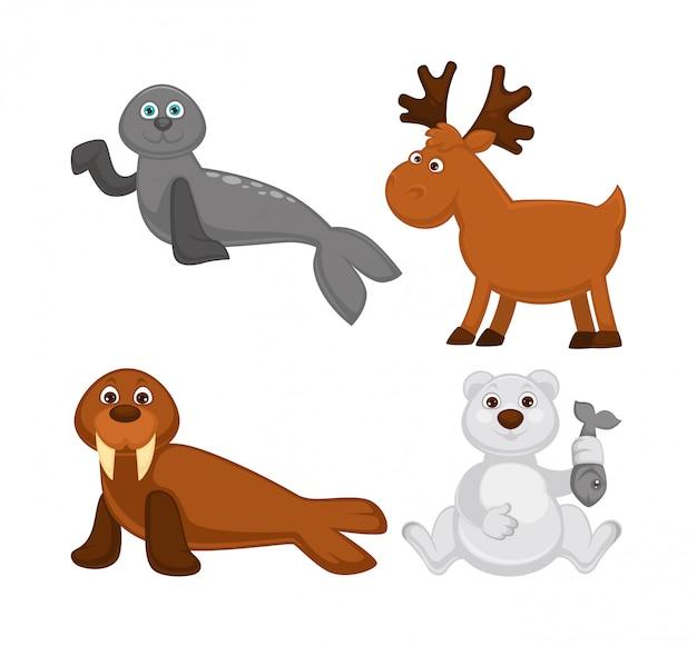 Animais adoráveis de países frios e do pólo norte Vetor Premium