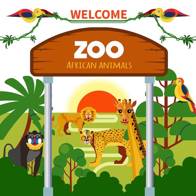 Animais africanos do jardim zoológico Vetor grátis