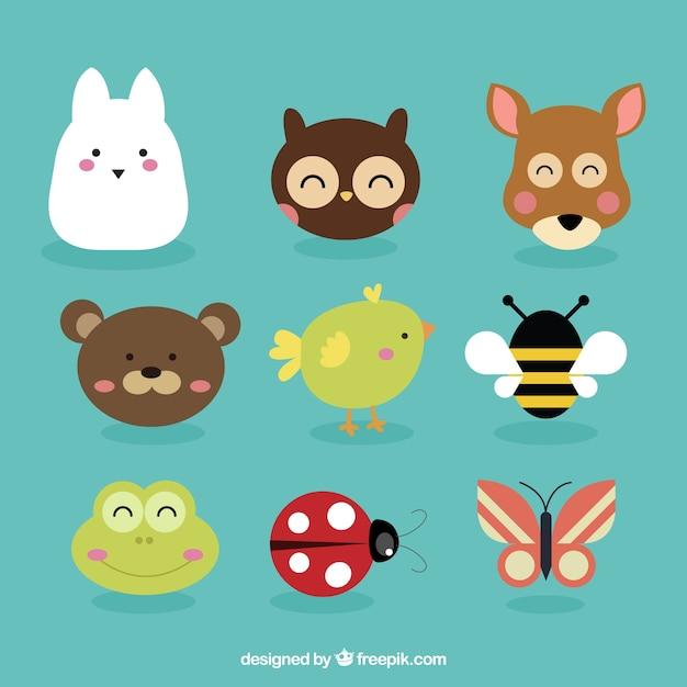 Animais avatares e insetos adoráveis Vetor Premium