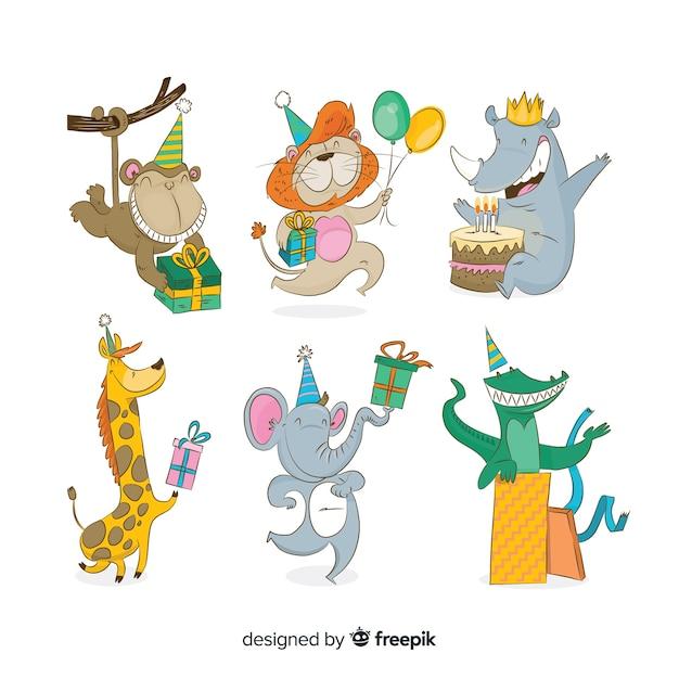 Animais bonito dos desenhos animados com presentes Vetor grátis