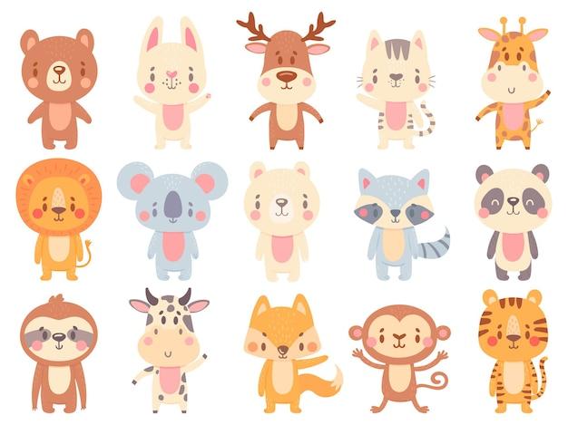 Animais bonitos dos desenhos animados. balançando a girafa, a vaca da fazenda engraçada e o mascote do urso feliz. Vetor Premium