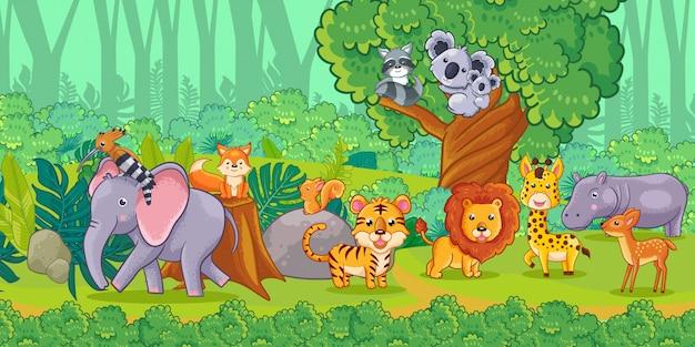 Animais bonitos dos desenhos animados na selva. conjunto de animais. Vetor Premium