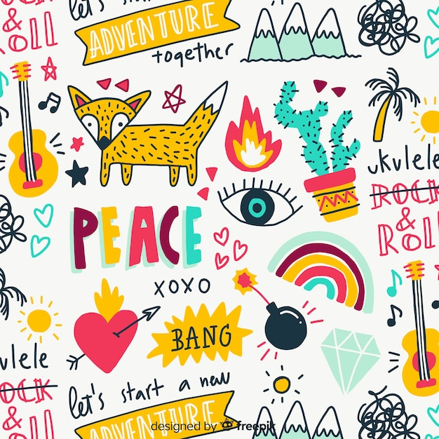 Animais coloridos doodle e padrão de palavras Vetor grátis