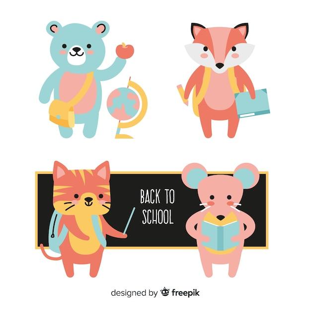 Animais com elementos da escola em torno da coleção Vetor grátis
