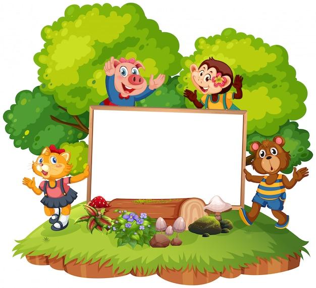 Animais com moldura de cartaz em branco para copyspace Vetor grátis