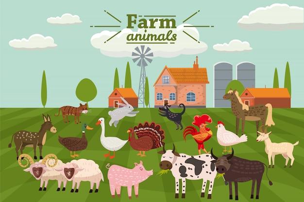 Animais da fazenda e pássaros em estilo bonito na moda Vetor Premium