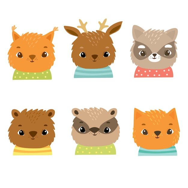 Animais da floresta bonito em trajes, esquilo, raposa, gato, veado, urso, texugo, guaxinim, rostos felizes de crianças Vetor grátis