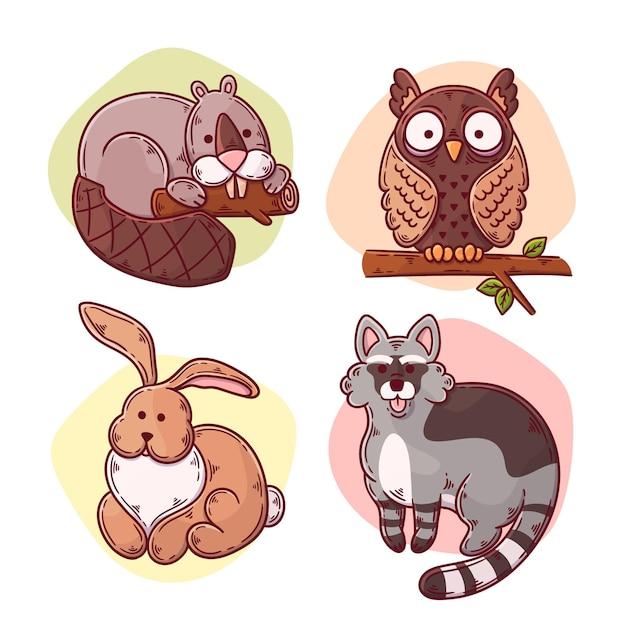 Animais da floresta de outono desenhados à mão Vetor grátis