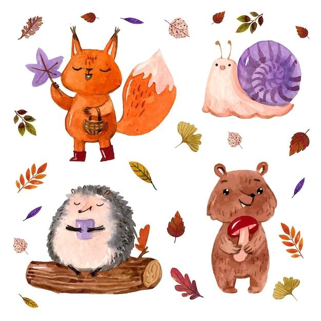 Animais da floresta de outono em aquarela Vetor grátis