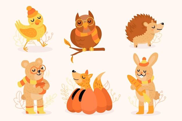 Animais da floresta de outono Vetor grátis