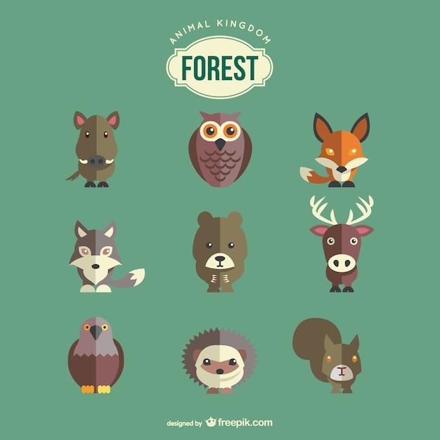 Animais da floresta definidos Vetor grátis