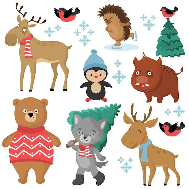 Animais da floresta feliz no inverno e árvores de natal, isoladas no fundo branco vector set Vetor Premium