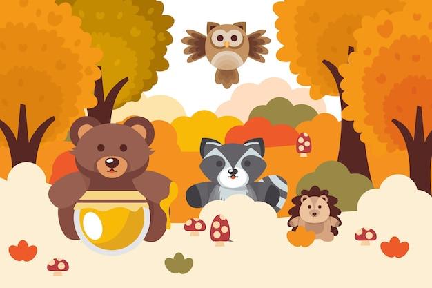 Animais da floresta plana outono Vetor grátis
