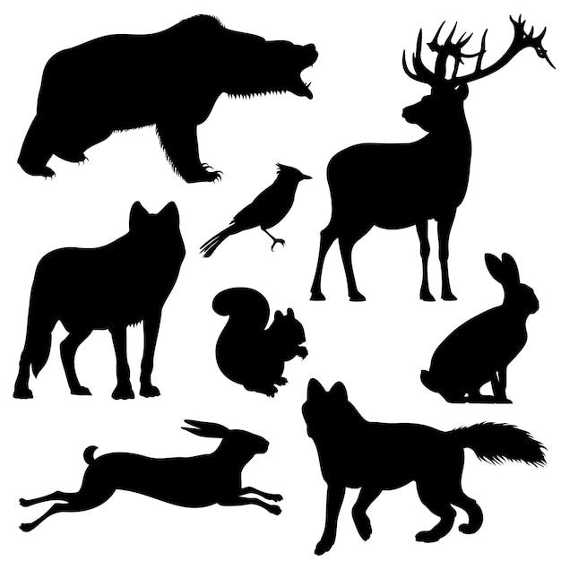 Animais da floresta vector conjunto de silhuetas Vetor Premium