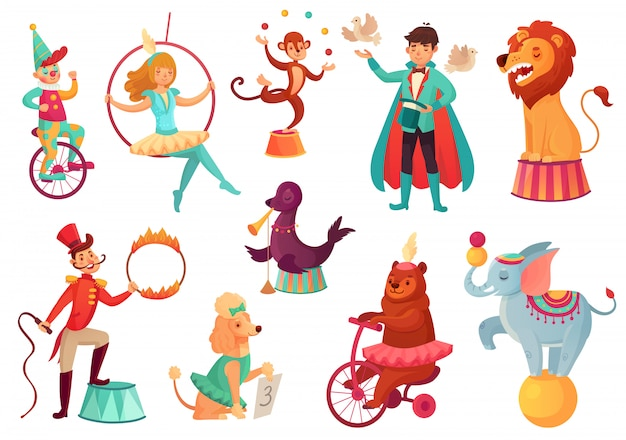 Animais de circo. truques acrobáticos de animais, entretenimento acrobático da família de circo. ilustração isolada dos desenhos animados Vetor Premium