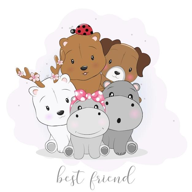 Animais de desenho animado bonito melhor amigo Vetor Premium