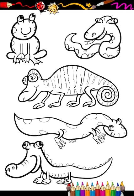 Animais De Desenhos Animados Estabelecidos Para Colorir Livro