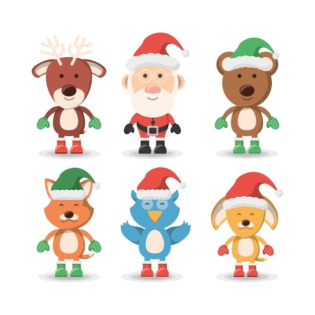 Animais de estimação de natal e conjunto de ícones de papai noel Vetor Premium