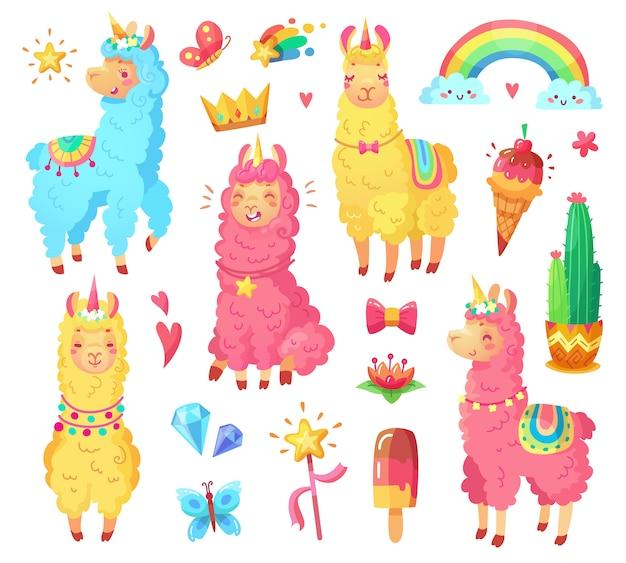 Animais de estimação de personagem de animais selvagens de arco-íris mágico cartoon conjunto de ilustração Vetor Premium