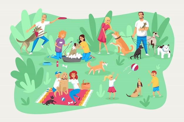 Animais de estimação e proprietários, cuidados, responsabilidade, conjunto familiar. Vetor Premium