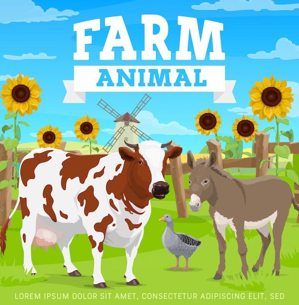 Animais de fazenda, agricultura, jardinagem e agricultura Vetor Premium