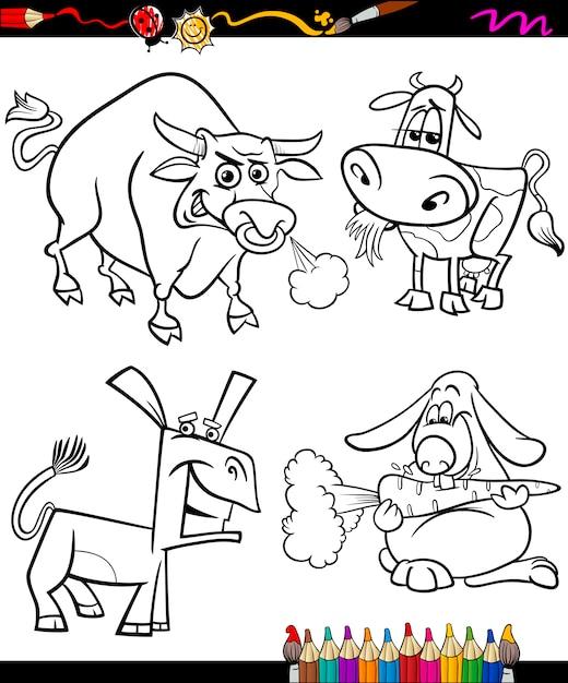 Animais De Fazenda Criados Desenhos Animados Colorir Livro Vetor