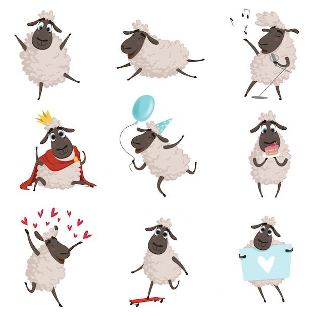 Animais de fazenda dos desenhos animados, ovelhas brincando e fazendo diferentes ações Vetor Premium