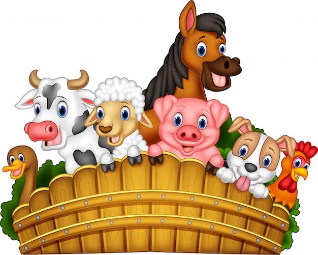Animais de fazenda dos desenhos animados Vetor Premium