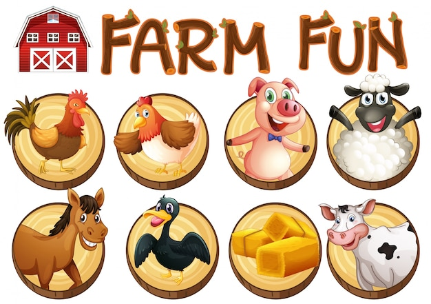Animais de fazenda em botões redondos Vetor grátis